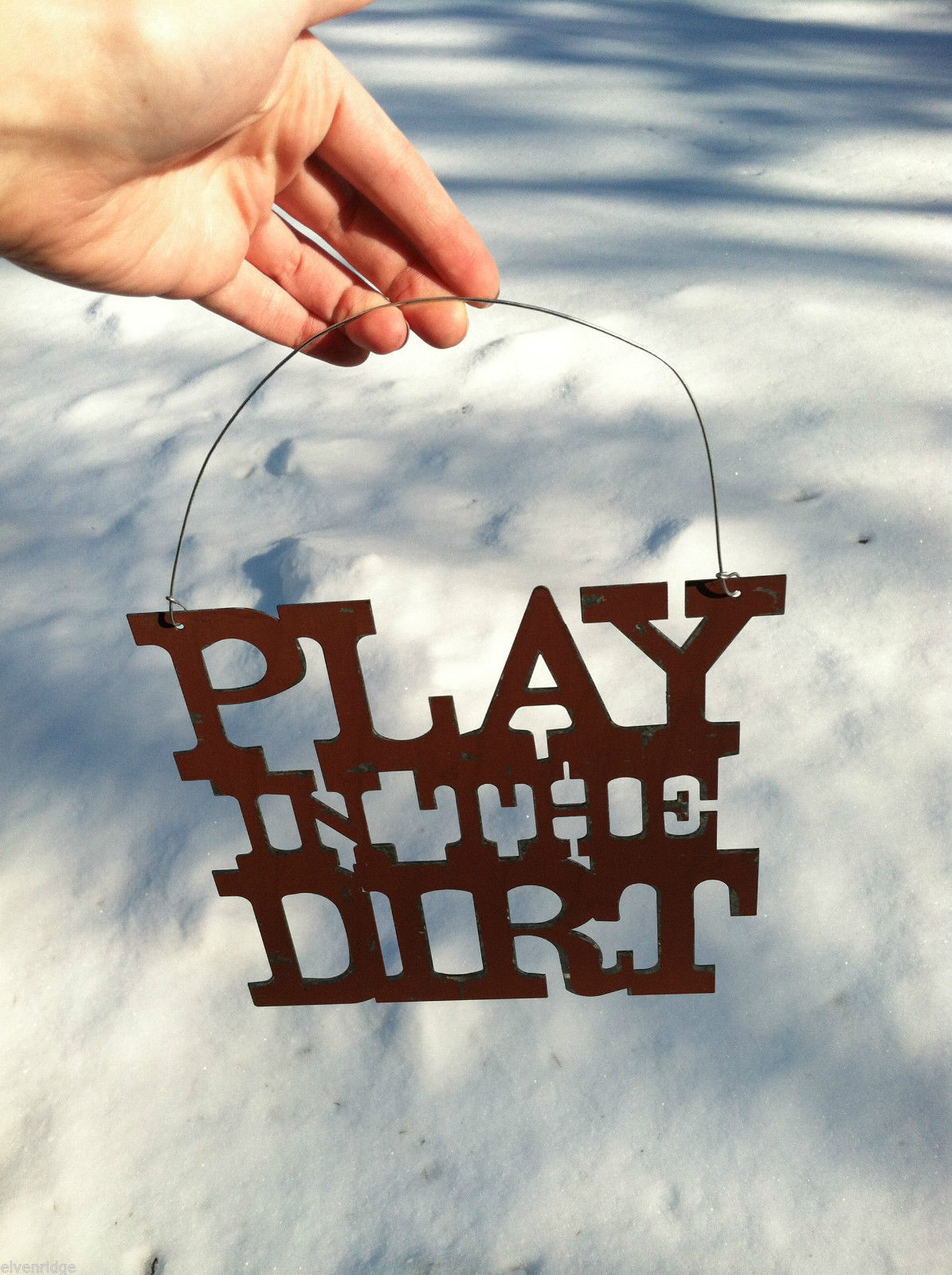 """Play in the Dirt"" Metal Garden Hanging Sign"