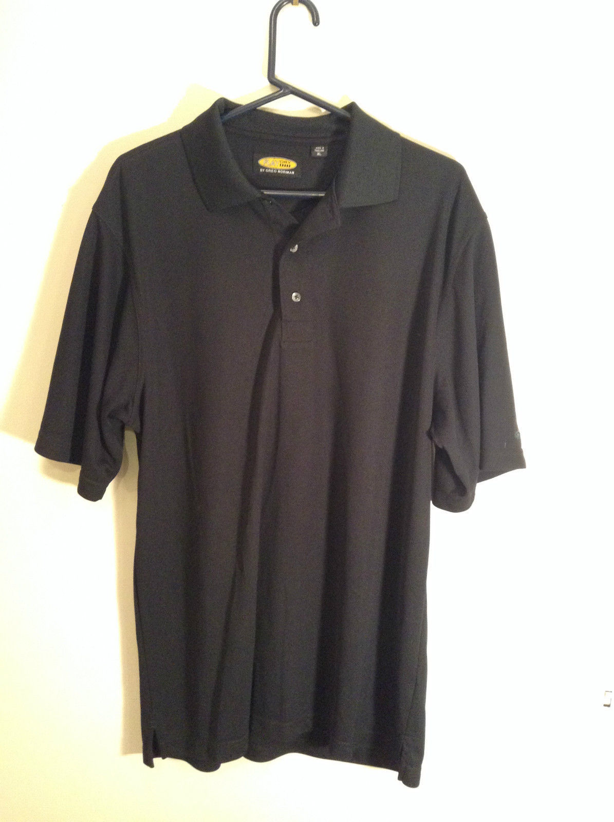 Play Dry by Greg Norman Black Short Sleeve Polo Shirt Size XL Detail Left Sleeve