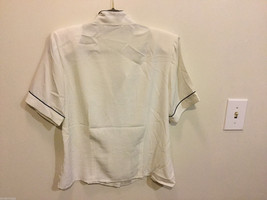 Notations Off-White Polyester Short Sleeve Blouse Buttons Up Shirt, Size 10P image 3