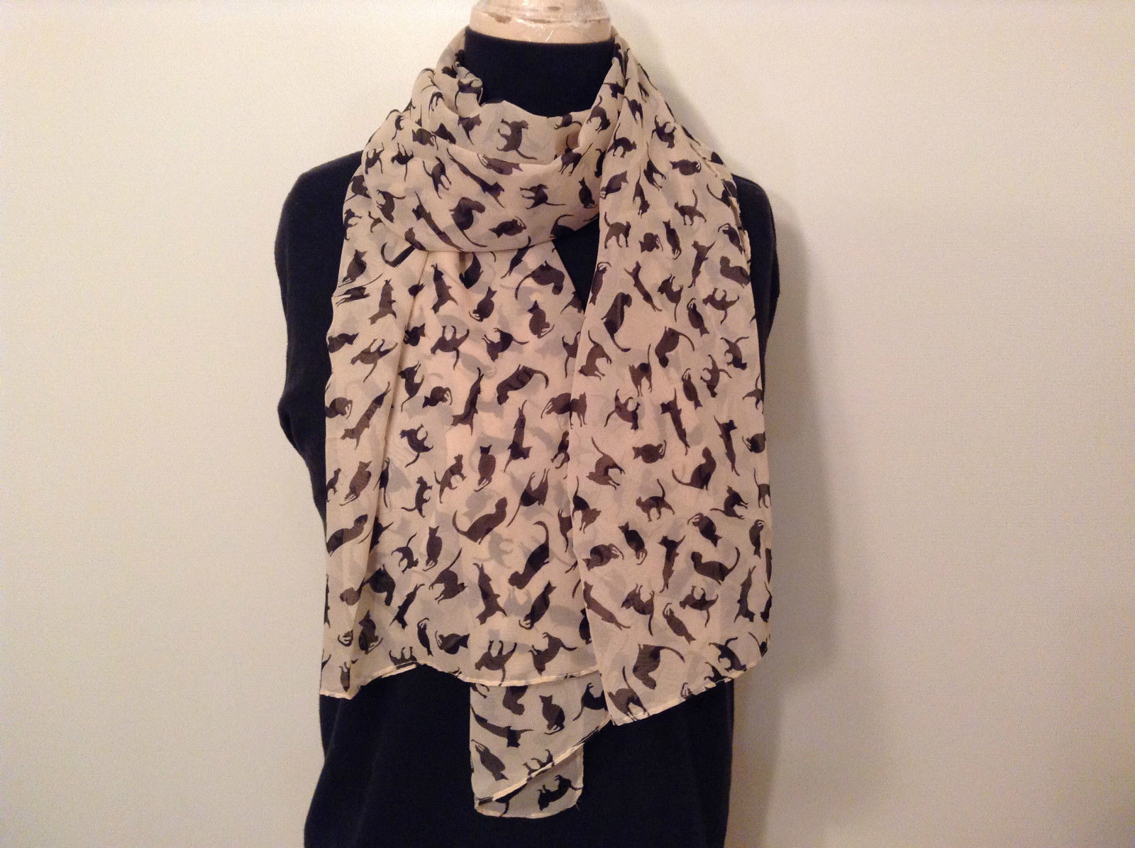 Playing Cats Light Tan Black Cats Scarf 100 Percent Polyester NEW