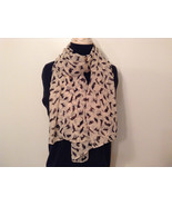 Playing Cats Light Tan Black Cats Scarf 100 Percent Polyester NEW - $39.99