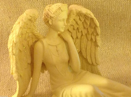 Angel Figurine  peacefully reclining with resting wings tabletop new in box image 5