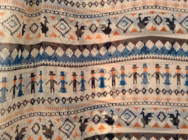 Norway Style White Blue Black Dancing People  Scarf 100 Percent Polyester NEW image 4