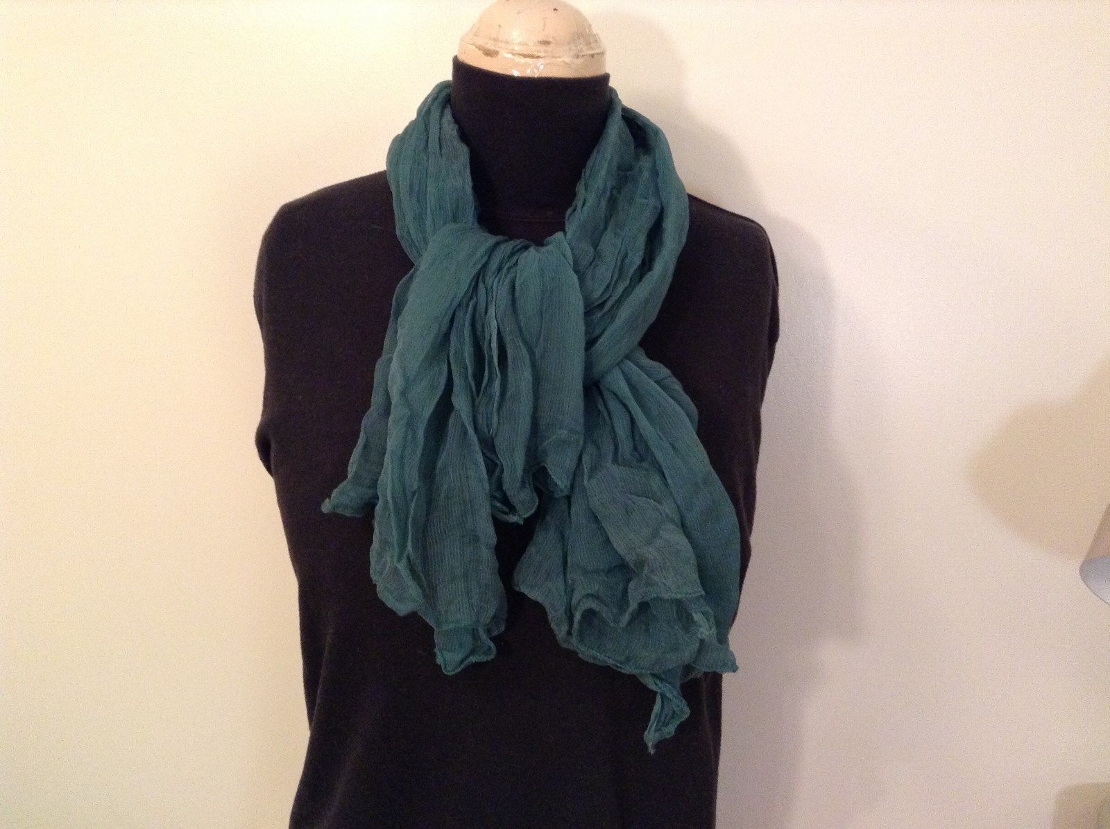 Pleated Deep Blue Green Sheer Fabric Scarf NO TAG