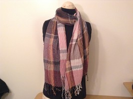 Pleated Light and Dark Shades of Pink Brown Gray Plaid Pattern Acrylic Scarf