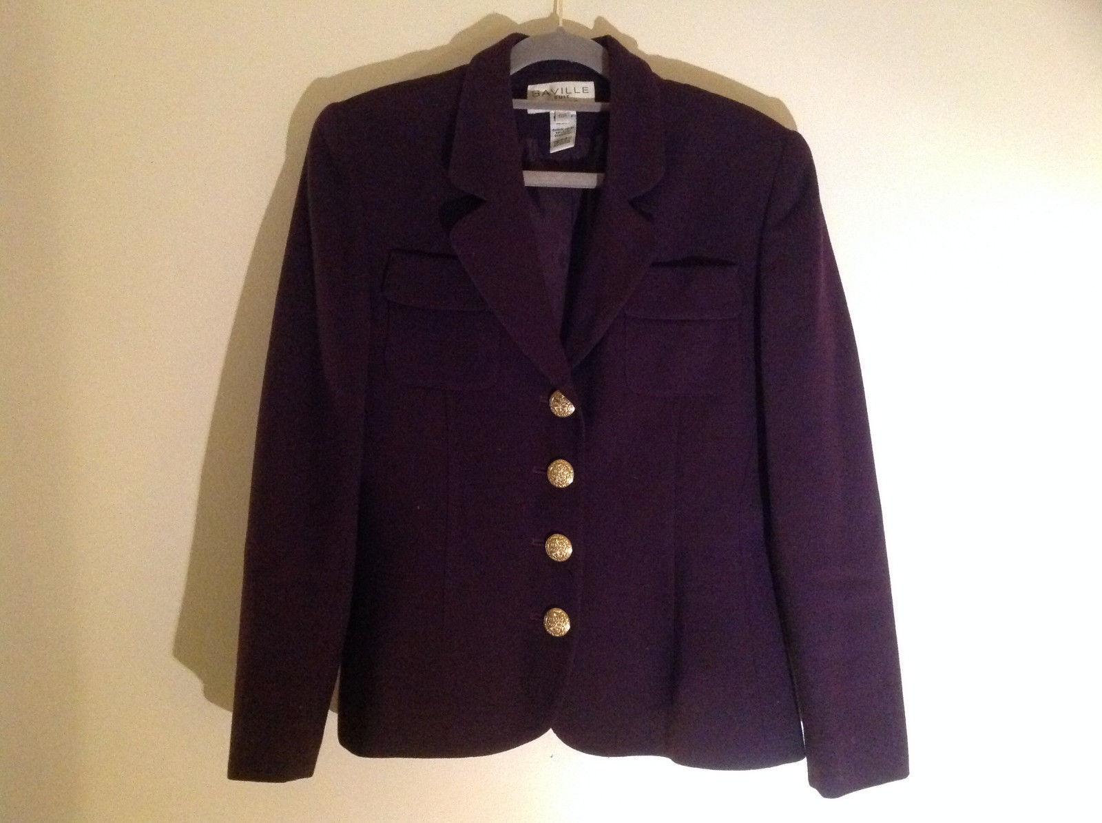 Plum Gold Buttoned Blazar 2 Front Pockets Saville Suit Petite Size 6P
