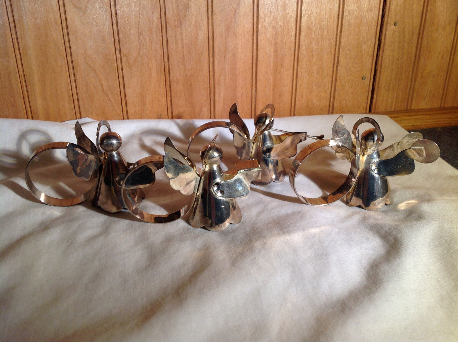 Real Nice Set of Four Metal Angel Napkin Rings Each Unique
