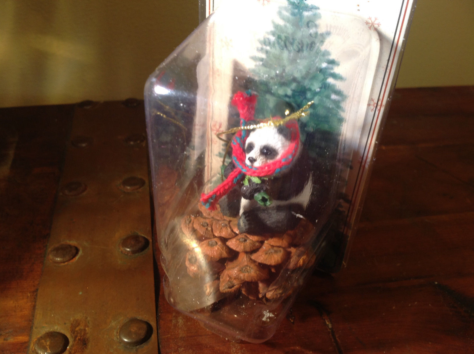 Real Pine Cone Panda Bear with Scarf Pet Pine Cone Christmas Ornament