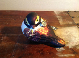 Realistic Glass Bird Ornament with Glitter Brown Black White image 1