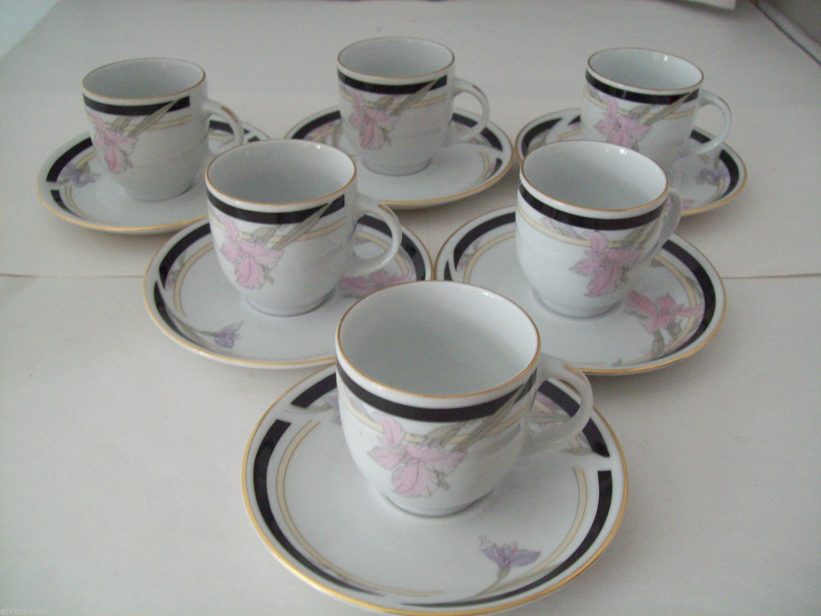 Realty Fine Porcelain Espresso Set 12 piece 6 cups and saucers