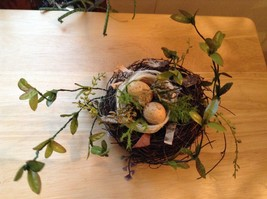 Realistic looking nest with greens and eggs spring display or teacher tool