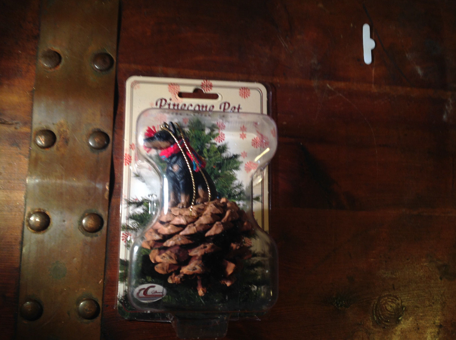 Real Pine Cone Black Doberman with Scarf Pet Pine Cone Christmas Ornament