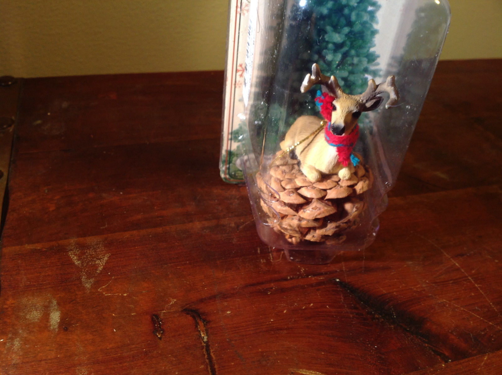 Real Pine Cone Deer Buck with Scarf Pet Pine Cone Christmas Ornament
