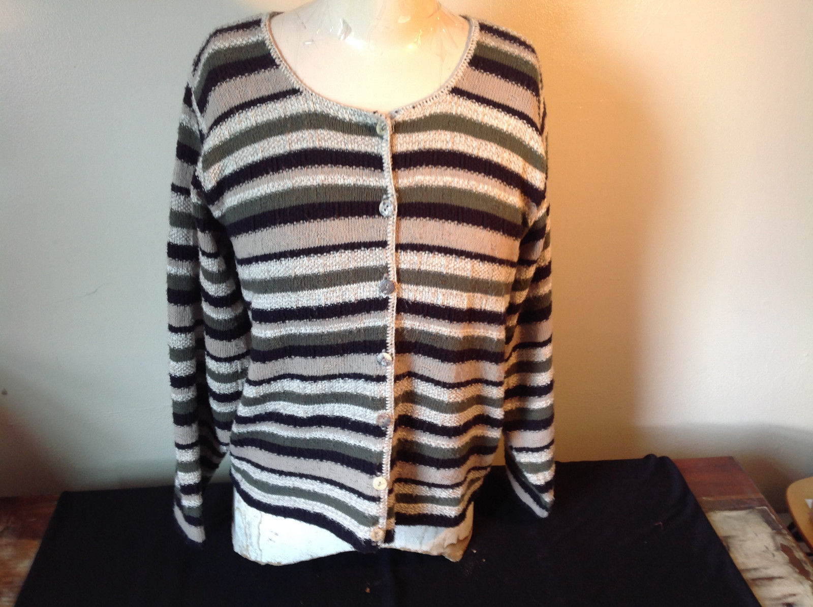 Reba Rose Open Front Button Down Striped Long Sleeve Sweater Size 4