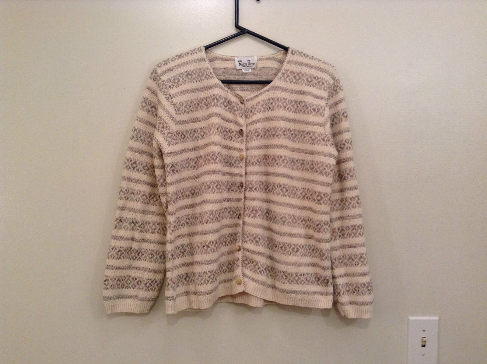 Reba Rose Size L Natural White Beige Striped Pattern Cardigan Button Front