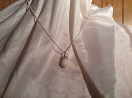 Real White Teardrop Stone Silver Ball Chain Pendant Necklace by Bella Ryann