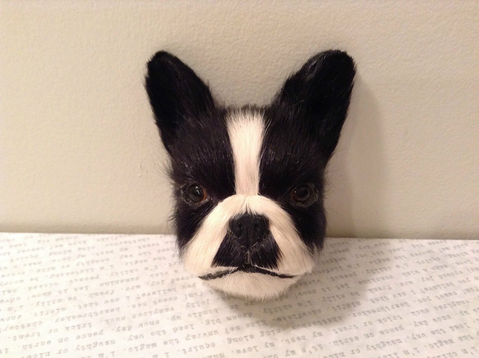 Recycled Rabbit Fur Boston Terrier Dog Head Magnet
