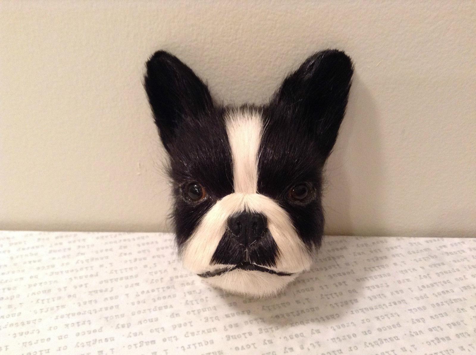 Recycled Rabbit Fur Boston Terrier Dog Head Magnet
