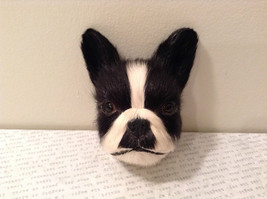 Recycled Rabbit Fur Boston Terrier Dog Head Magnet image 1