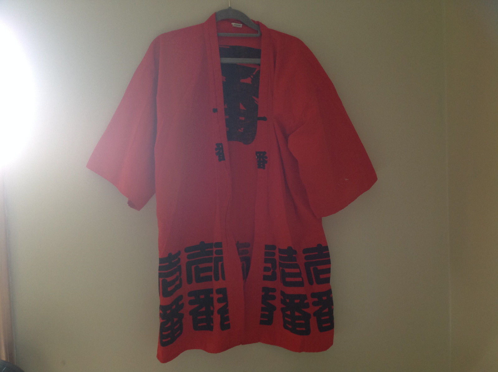 Red Asian Symbols Short Sleeve Kimono Made in  Japan No Brand Tag Size Large