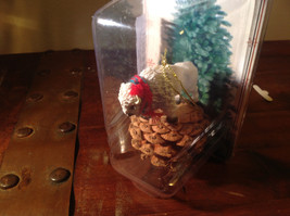 Real Pine Cone White Buffalo with Scarf Pet Pine Cone Christmas Ornament