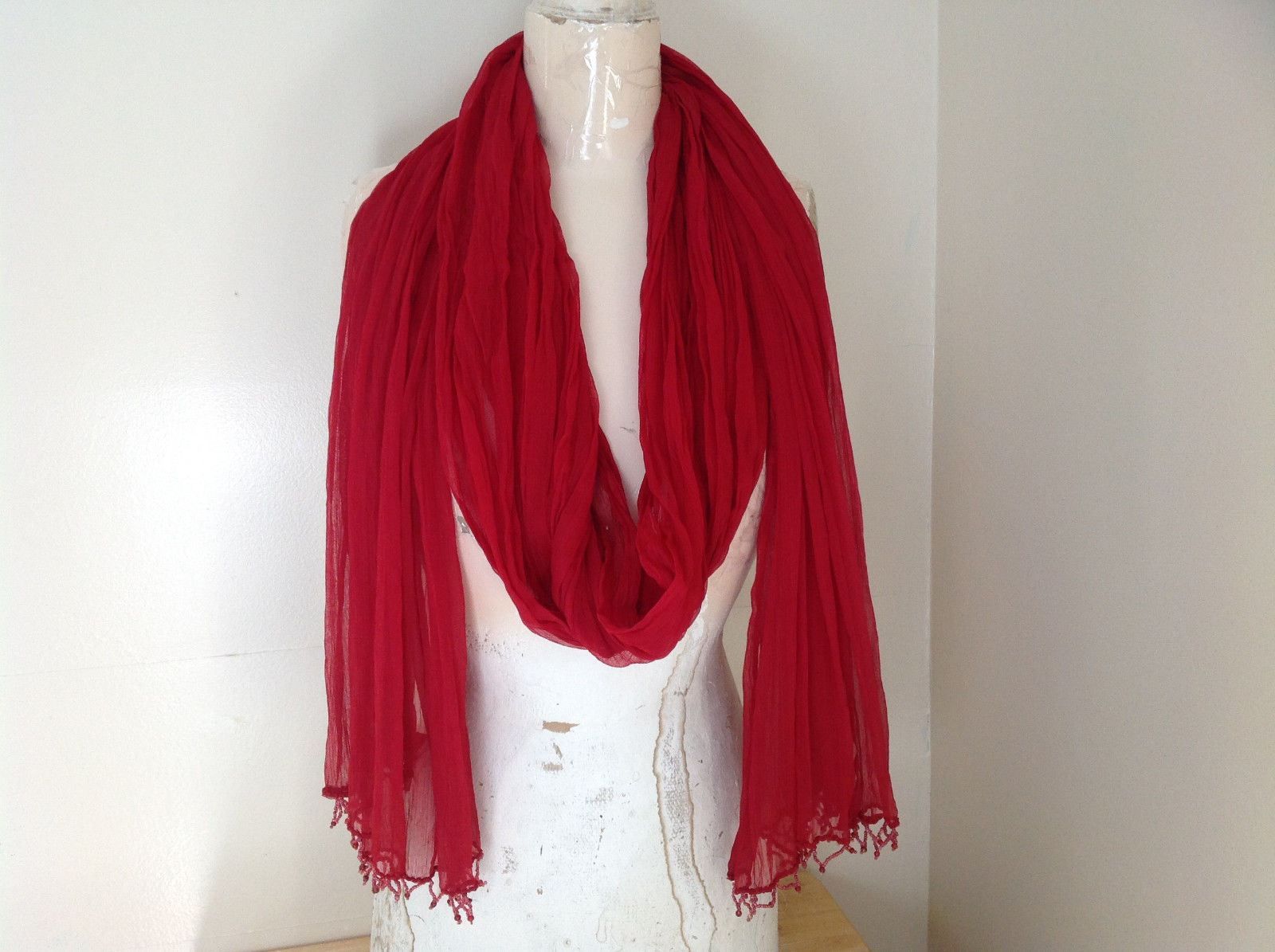 Red Indian Style Beaded Scarf Scrunched Design Tassels are Beaded  Made in India