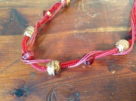 Red Multi Strand Intertwined Necklace with Gold Tone and Red Beads Adjustable image 1