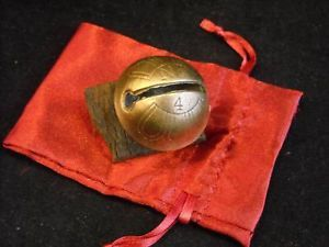 Polished No 4 Antique Engraved Brass Bell w Leather