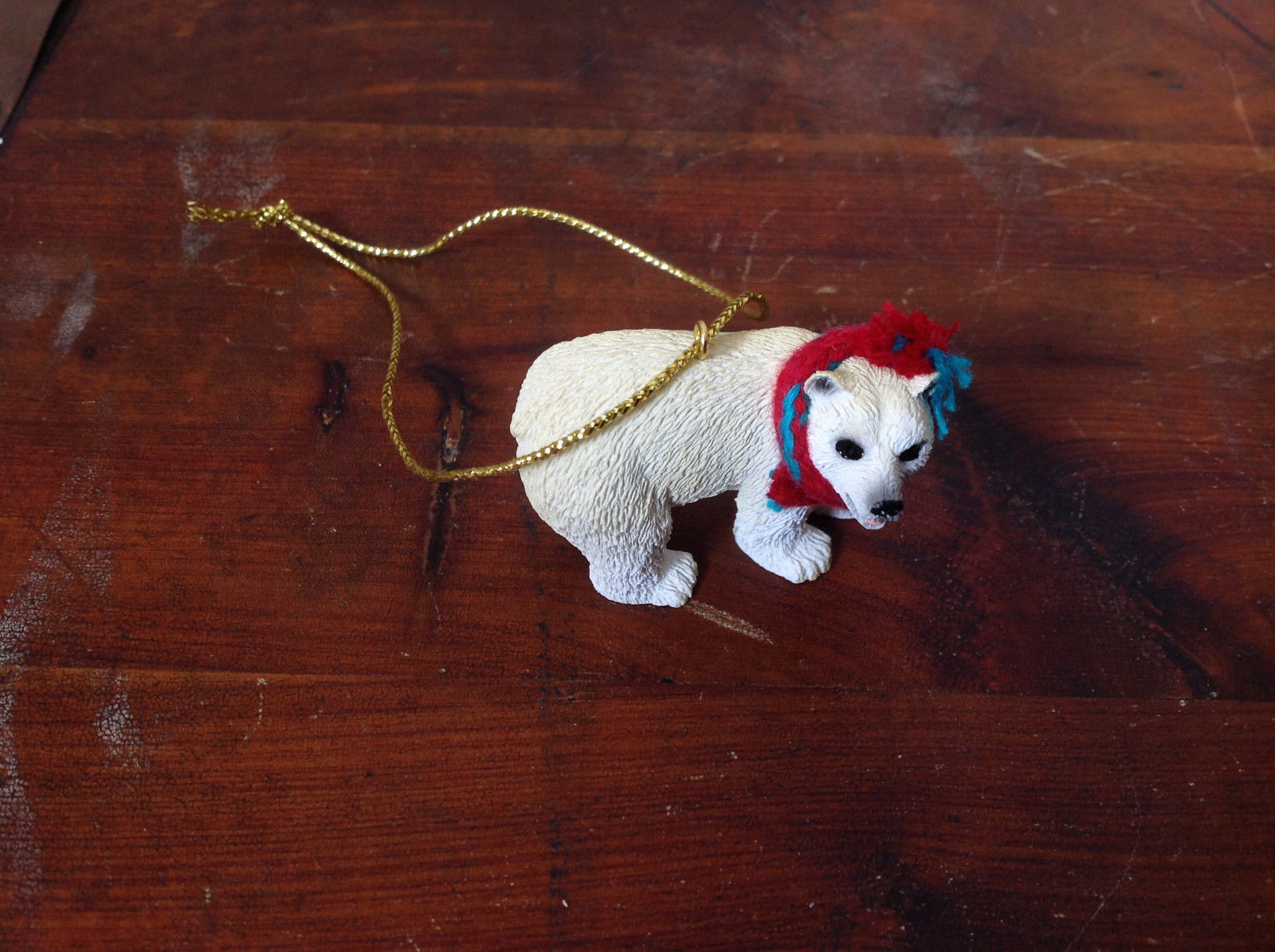 Polar Bear with Scarf on Neck Ornament Gold Color String for Hanging