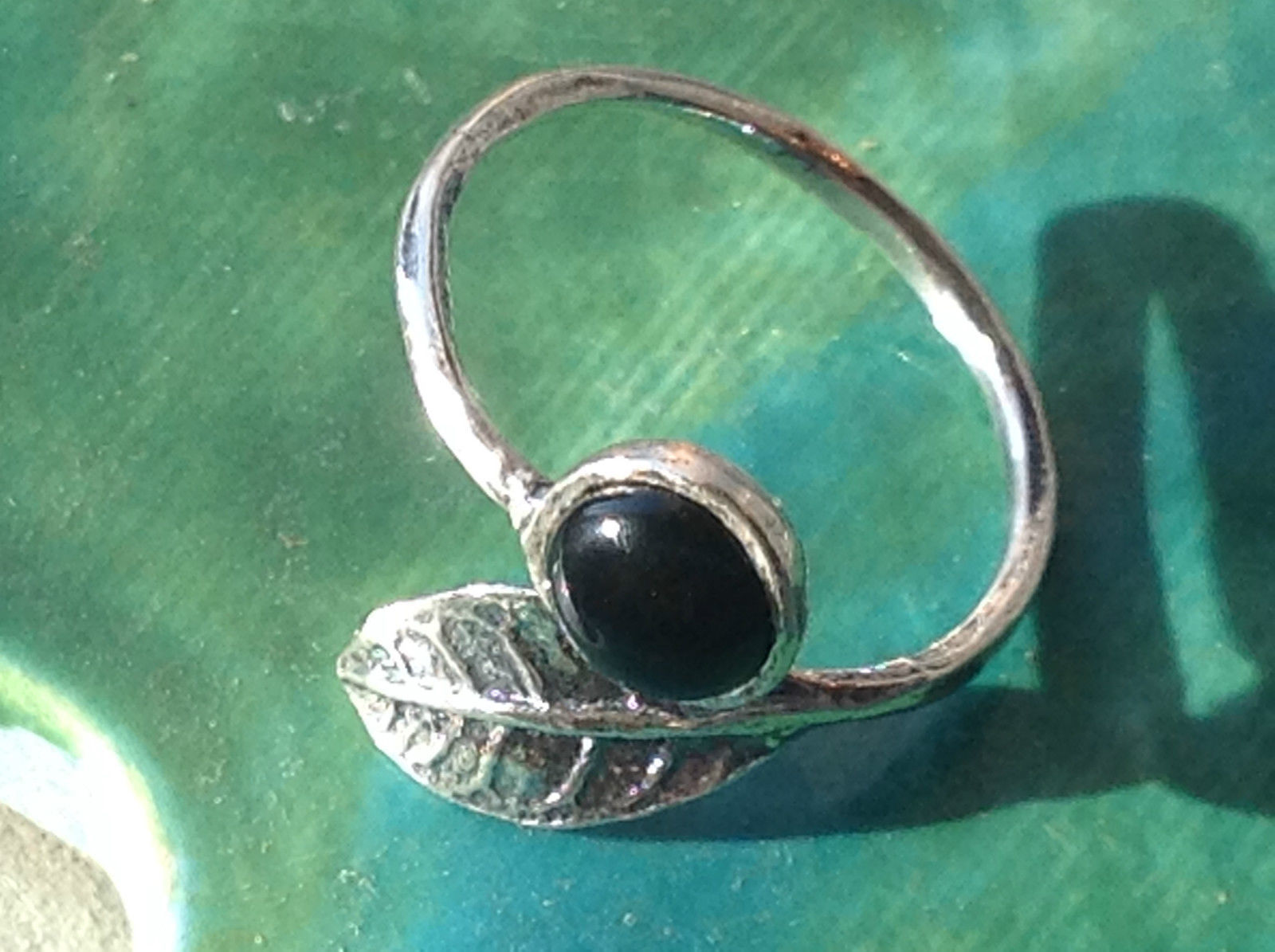 Polished Onyx Cabochon Natural Sterling Silver Leaf Ring Size 8