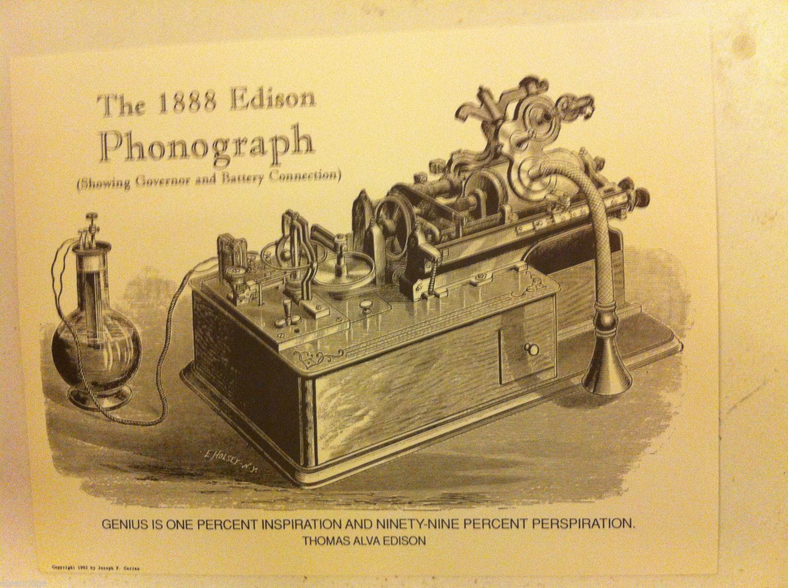 Poster of Edison 1888 Phonograph Steel Engraving Reproduction with genius quote