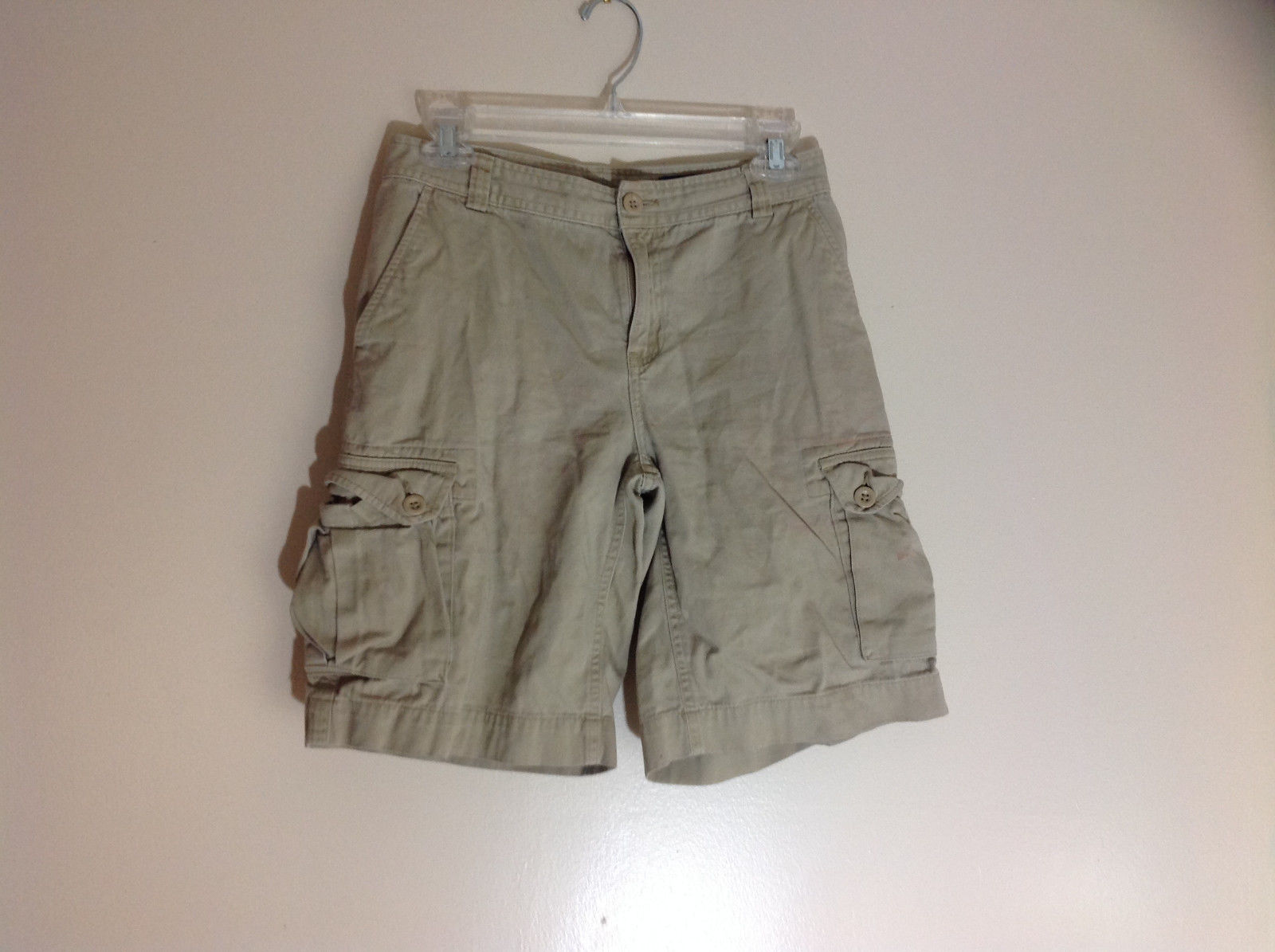 Polo by Ralph Lauren Khaki Cargo Shorts 6 pockets Zip and Button Closure Size 14