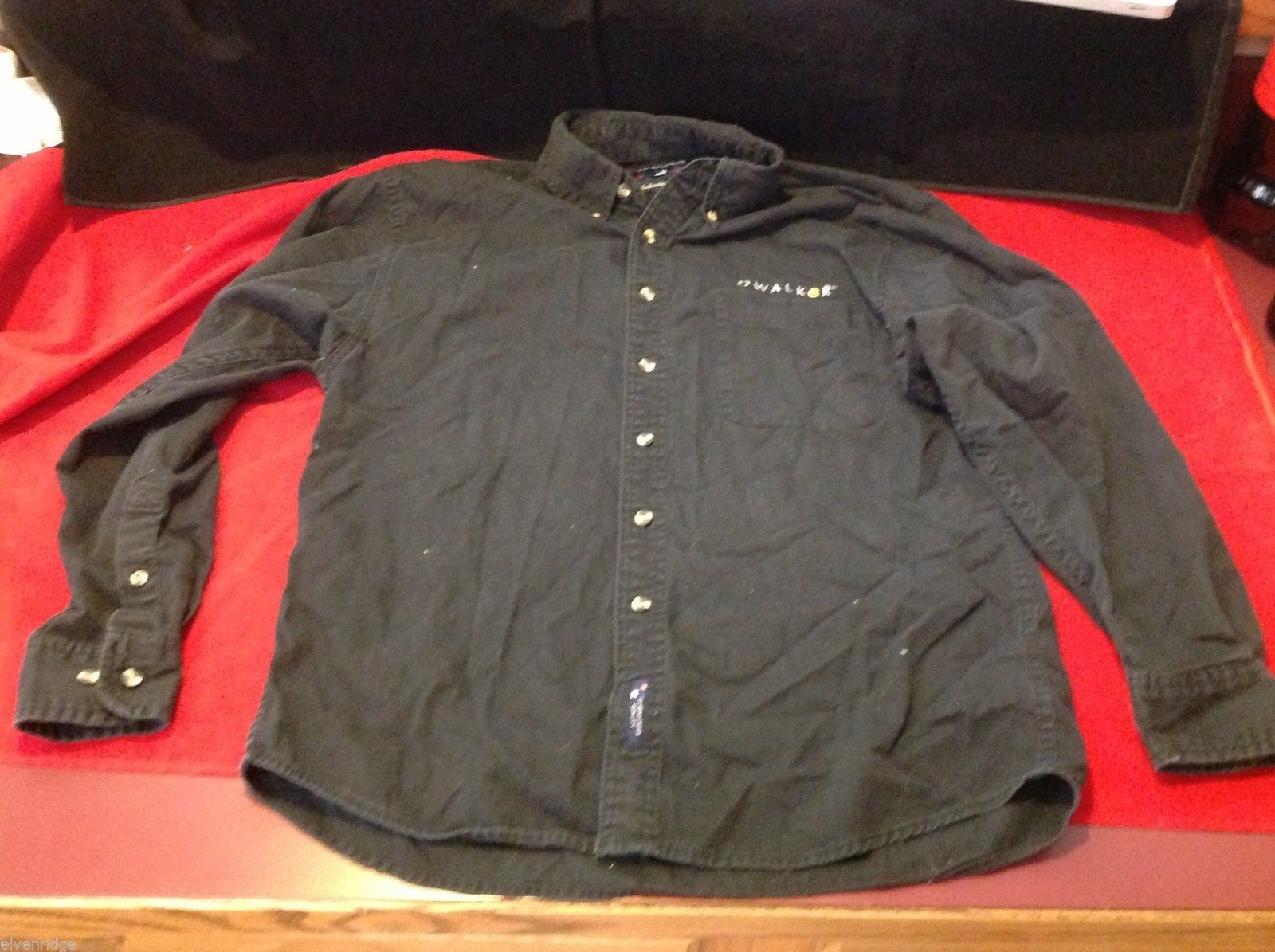 Port Authority Black collared cotton shirt embroidered with Walker name