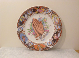 Praying Hands Ceramic Plate Bible Scenes on Edges Around Plate