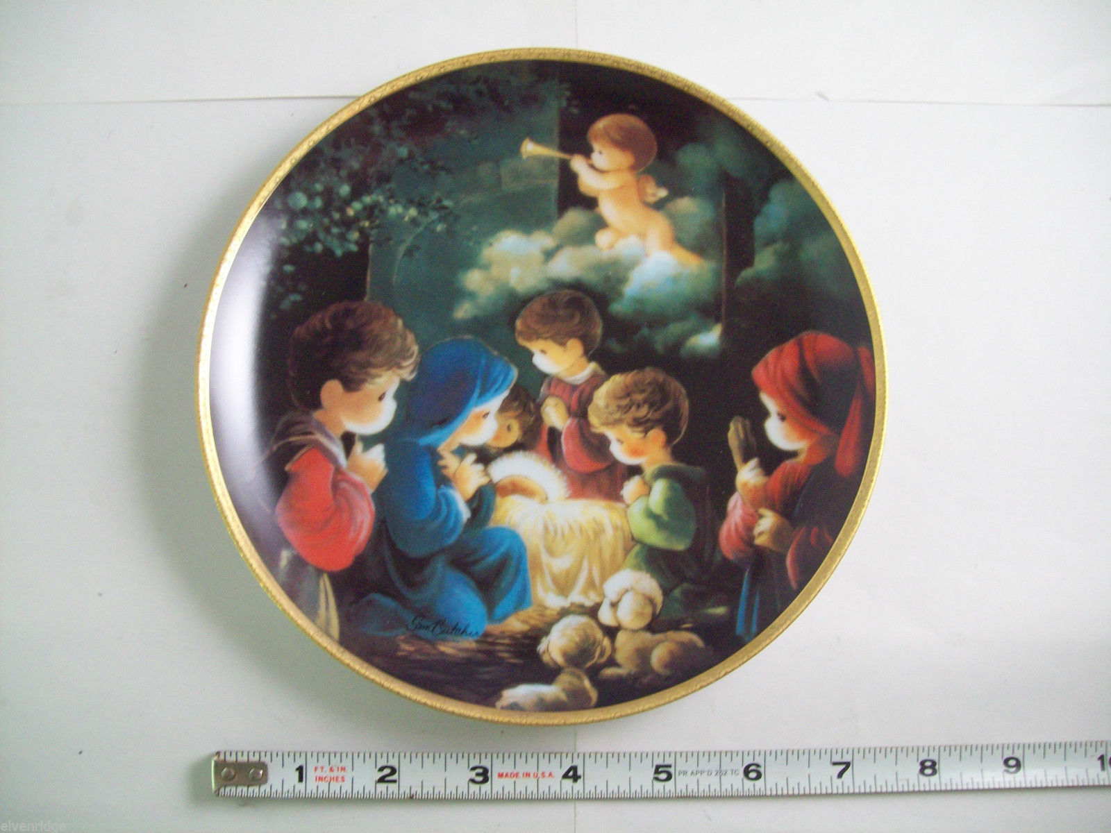 Precious Moments Plate #1256X Bible Story Come Let us Adore Him