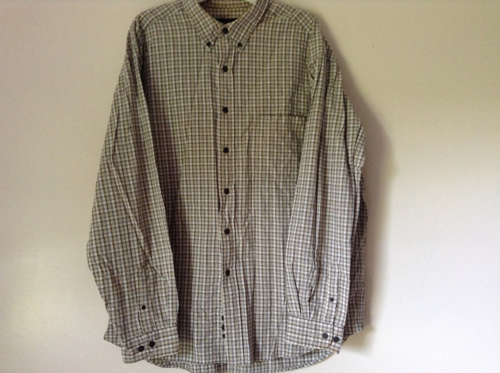 Plaid Long Sleeve Casual Button Down Shirt with Collar by Eddie Bauer Size XL
