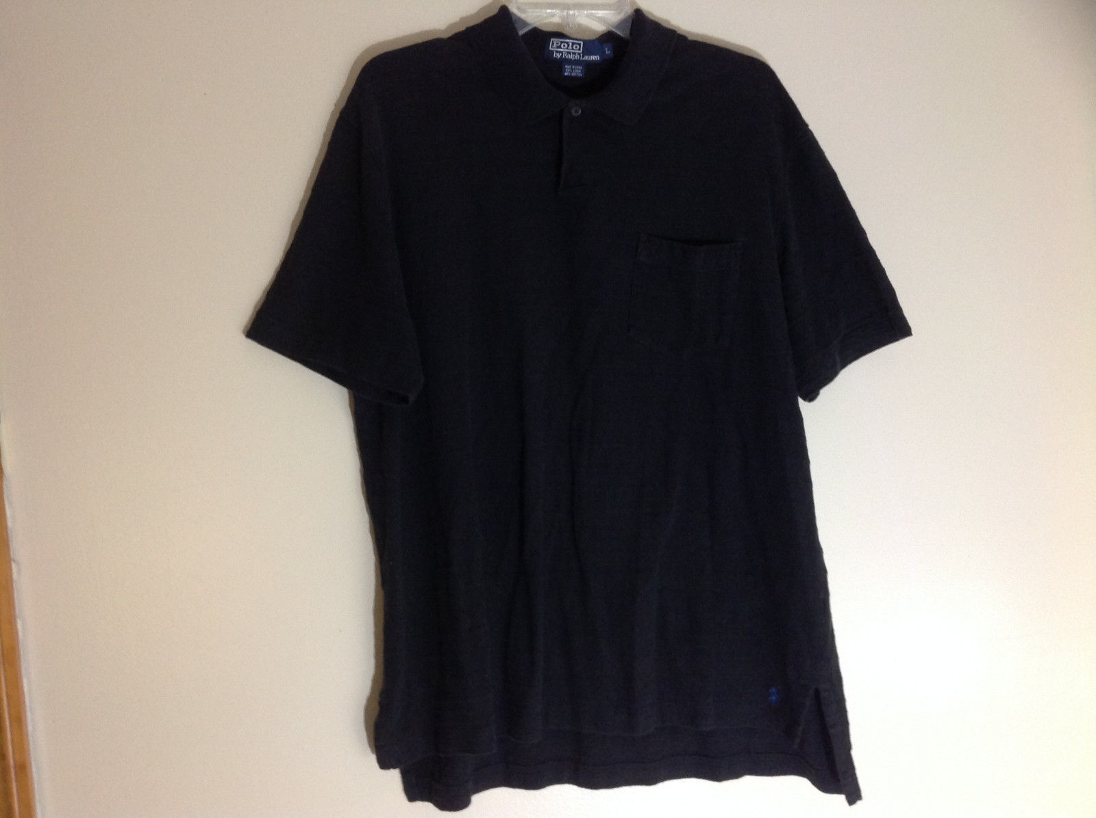 Polo by Ralph Lauren Black Short Sleeve Polo Shirt Front Pocket on Chest Size L