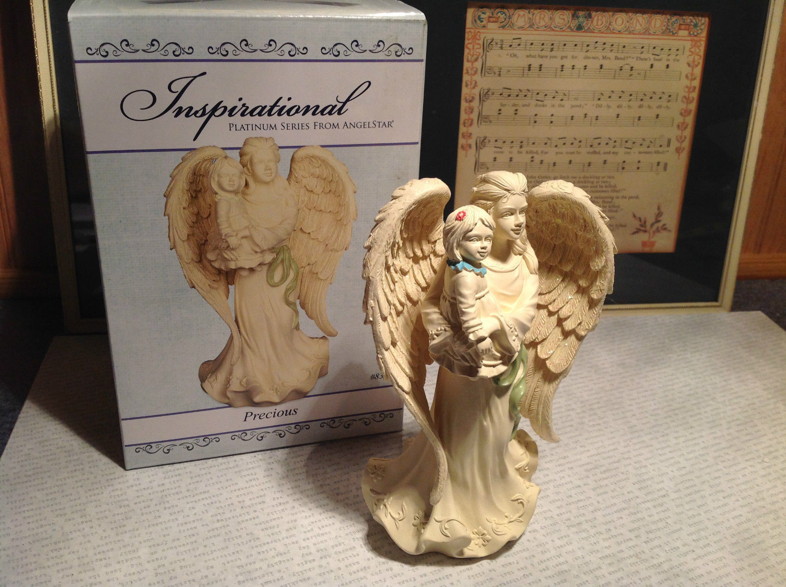 Precious by Angel Star Resin Angel Figurine New in Box Angel Holding Child