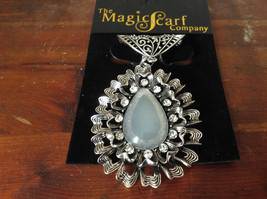 Pretty Almond Shaped Large Opaque Stone with Crystals Silver Tone Scarf Pendant - $39.99