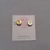Lizzy J bullet stud gold traditional shiny  finish  earrings USA made image 2