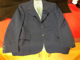 Pretty 2 Button Ladies Blue Blazer 24 Inch W 32 Inch L 27 Inch Arm 4 Inch Neck image 1