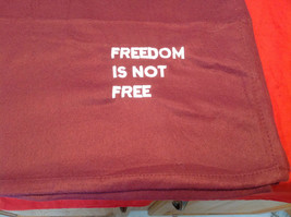 Pretty Burgundy Throw Blanket Freedom is not Free on corner 35 Inch W 51 Inch L image 1