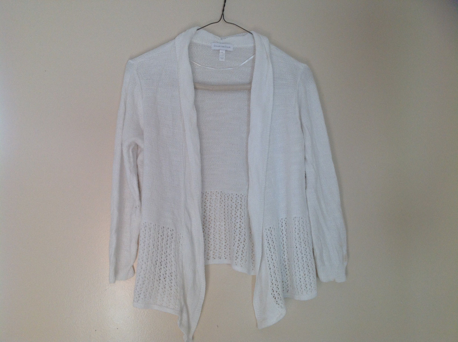 Pretty Charter Club White Open Front Long Sleeve Knit Crocheted Sweater Size L