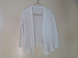 Pretty Charter Club White Open Front Long Sleeve Knit Crocheted Sweater Size L - $39.99