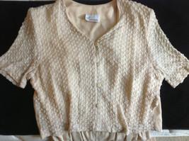 Pretty Cream Color Dani Michaels Short Sleeve Button Up Front Jumpsuit - $54.44