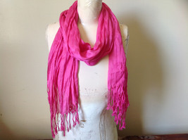 Pretty Dark Pink Scrunched Style Tasseled Fashion Scarf Soft Material image 1