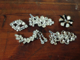 Pretty Five Piece Lot of Brooches with Many Swarovski Elements for Repurposing