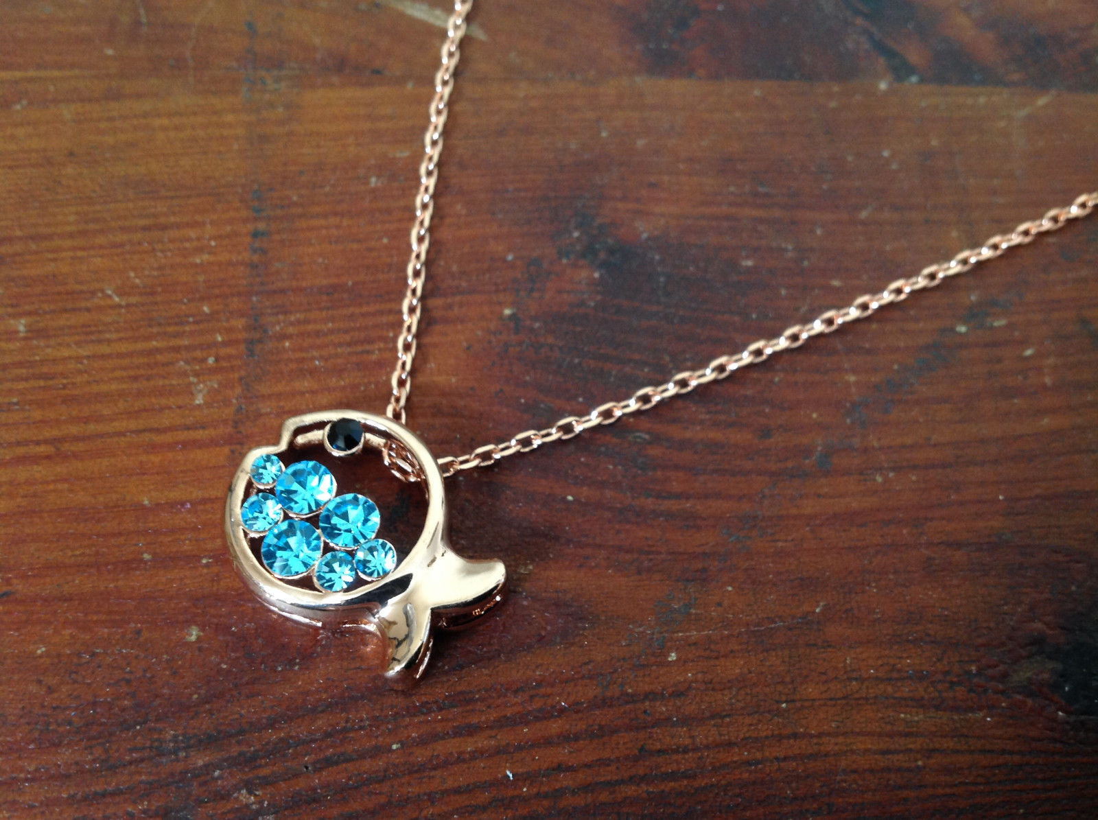 Pretty Fish Shaped 10K Gold Plated Necklace with Light Blue Crystals Adjustable