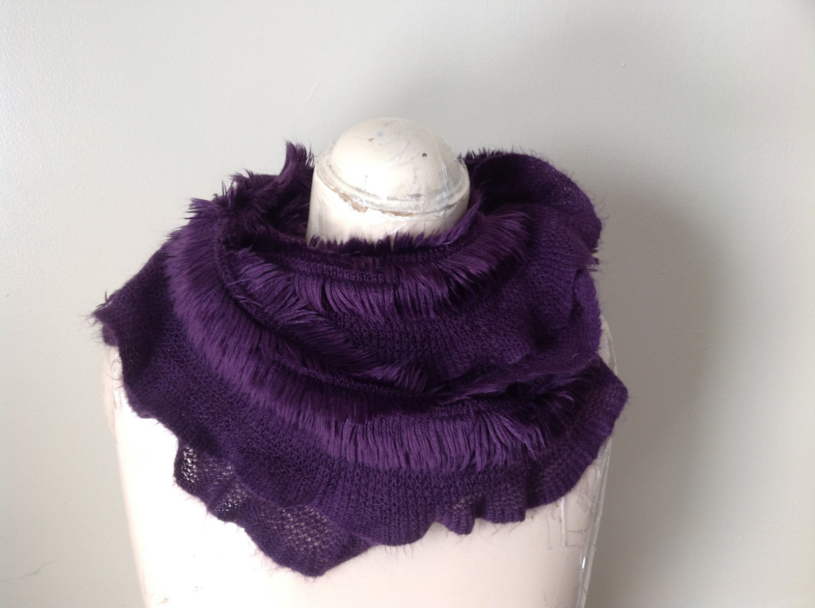 Pretty Frilly Furry Purple Infinity Scarf See Measurements Below