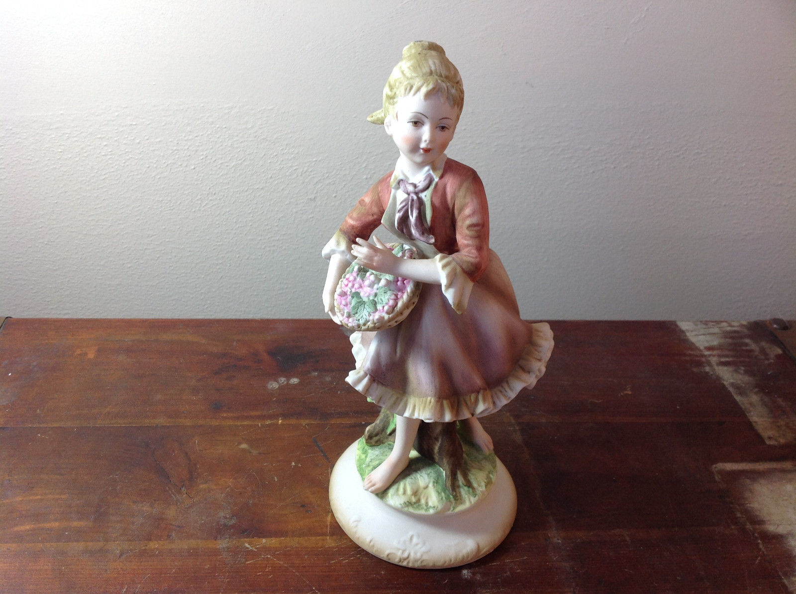 Pretty Girl with Berries Hand Painted Ceramic Figurine Made in Japan